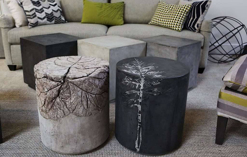Pliny end tables and concrete squares as coffee tables