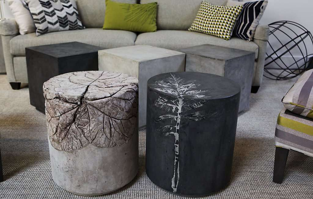 Concrete end tables and coffee table set up.